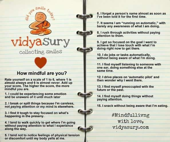 How mindful are you activity Vidya Sury