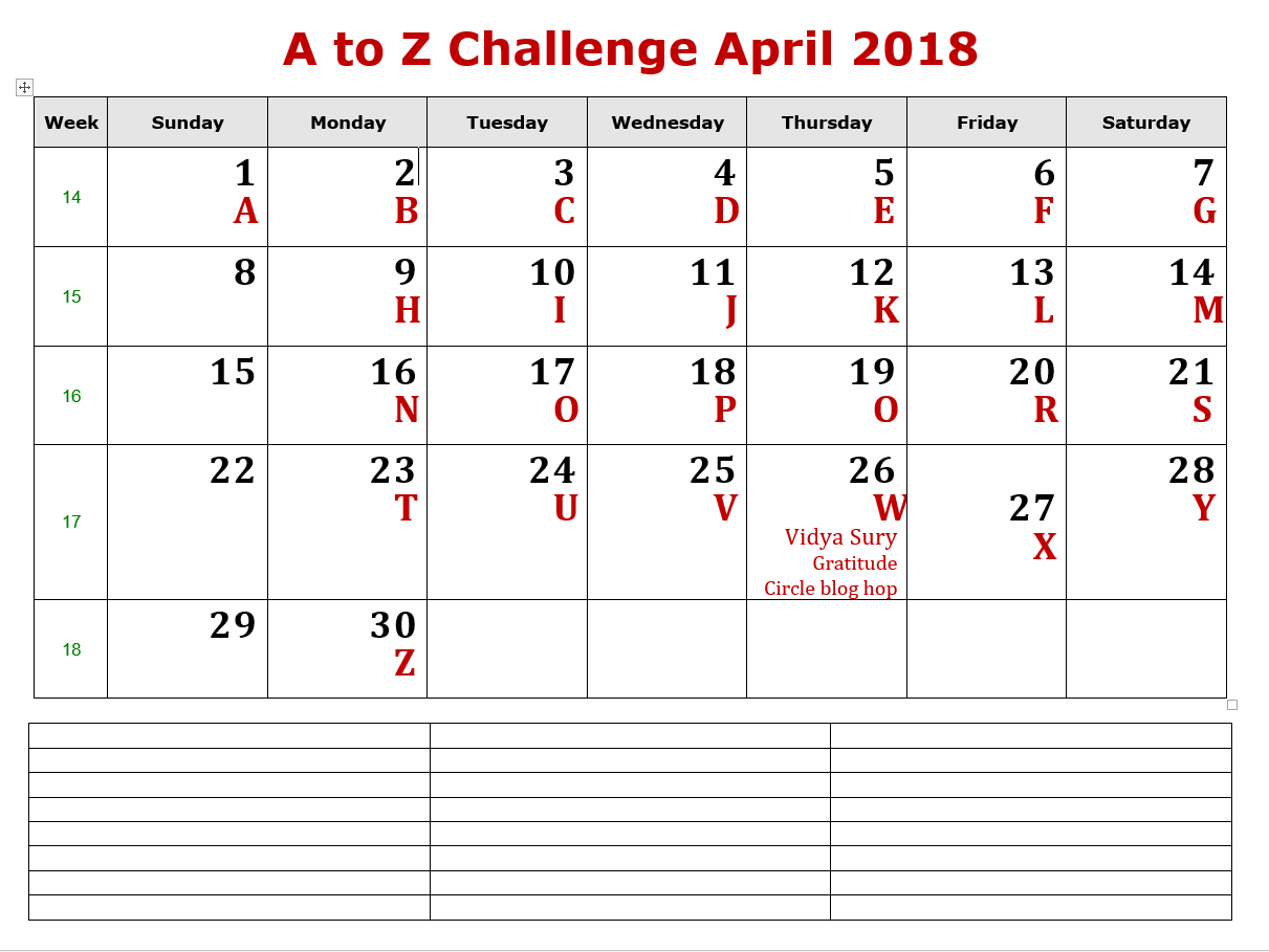 Posting calendar: April 2018 A to Z Challenge Theme Reveal #themereveal #atozchallenge