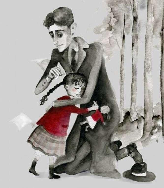 Kafka and the doll. Happy girl