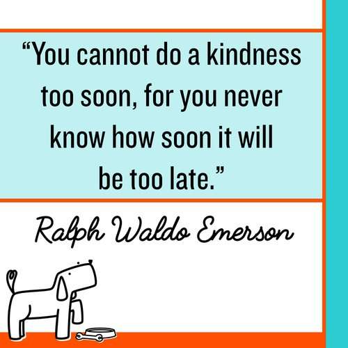 You cannot do a kindness too soon, for you never know how soon it will be too late. Make Kindness The Norm 100 Random Acts of Kindness