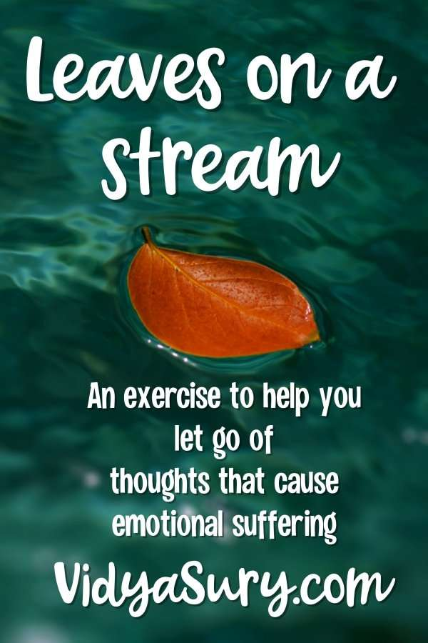 Leaves on a stream exercise is a soothing cognitive defusion practice where we learn to let go of thoughts that cause emotional suffering.