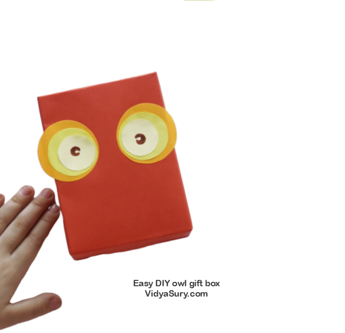 Easy DIY owl gift box eyes
