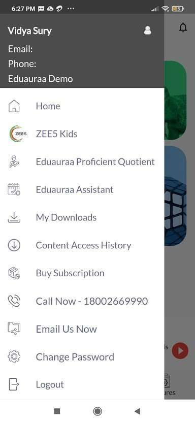 Eduauraa app settings